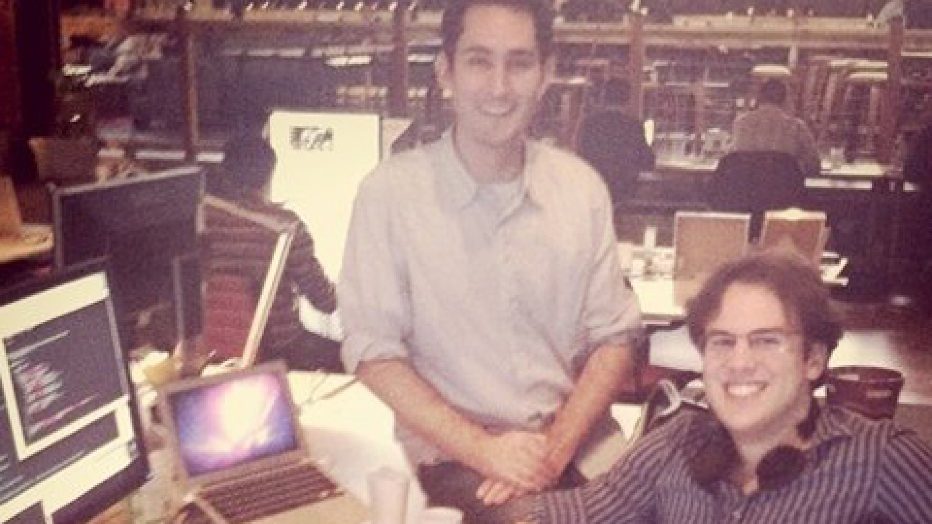 <strong>Portrait of the multi-millionaires as young men:</strong> Blogger and tech evangelist Robert Scoble snapped this Instagrammed shot of Instagram founders Kevin Systrom (left) and Mike Krieger back in November of 2010, when they were building their photo-sharing app out of a $500-a-month desk rented from Dogpatch Labs on Pier 38, which was so structurally unsound San Francisco forced tenants to vacate within a year.