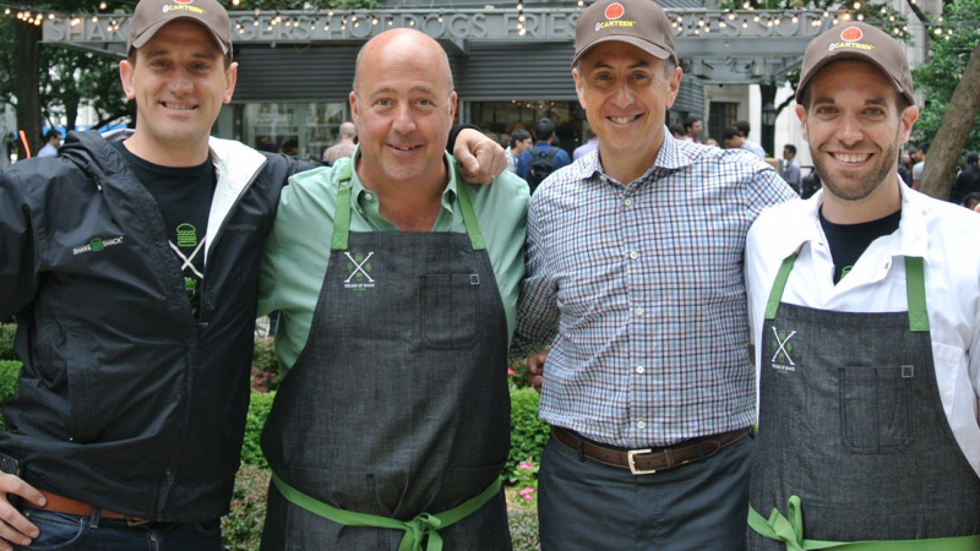 From left: Shake Shack CEO Randy Garutti, celebrity Chef Andrew Zimmern, founder Danny Meyer and culinary director Mark Rosati at Madison Square Park. 
