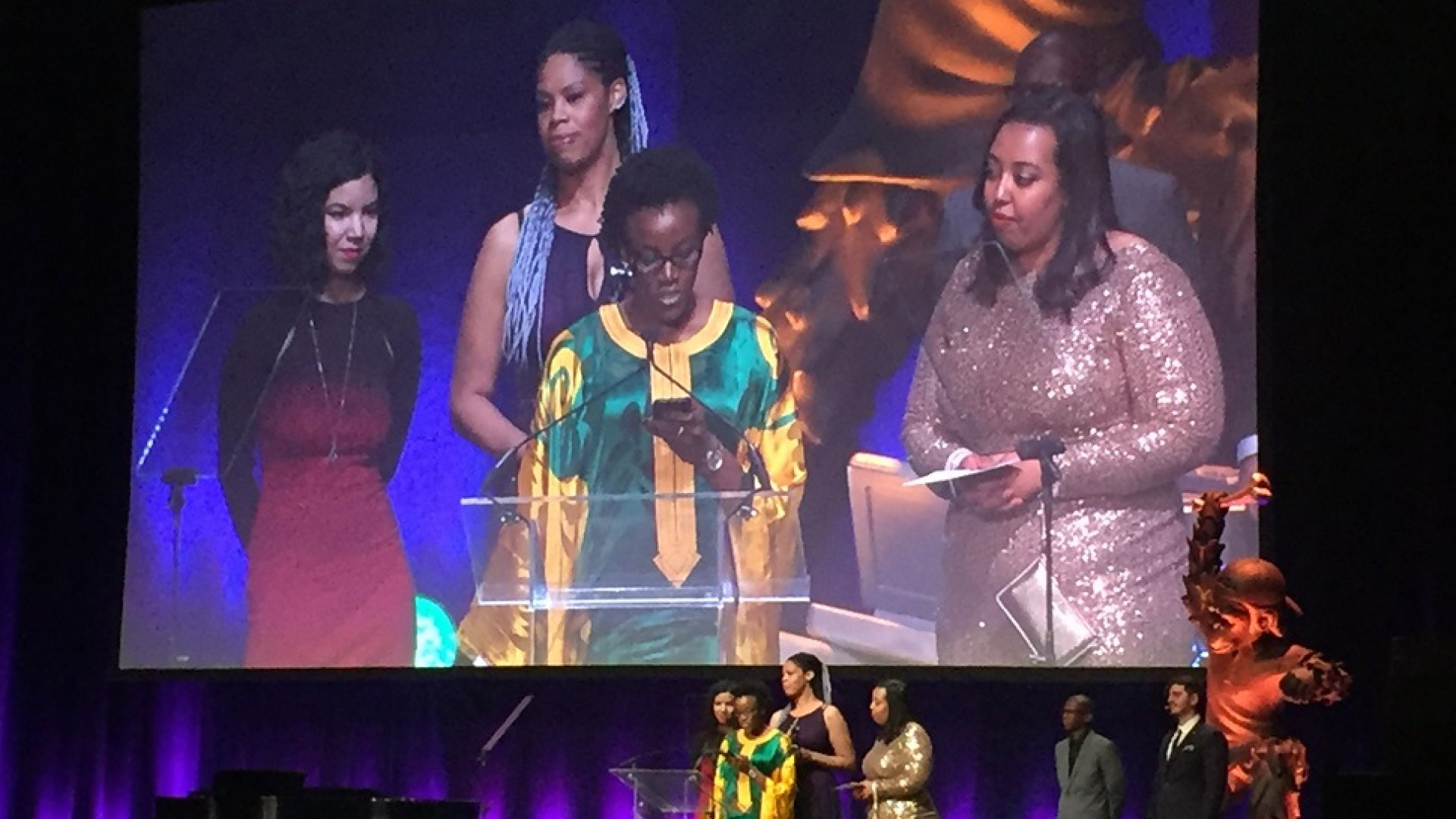Slack employees Megan Anctil, Erica Baker, Kiné Camara, Duretti Hirpa accept the Fastest Rising Startup award for Slack at the 2016 Crunchies awards on Feb. 8, 2016.