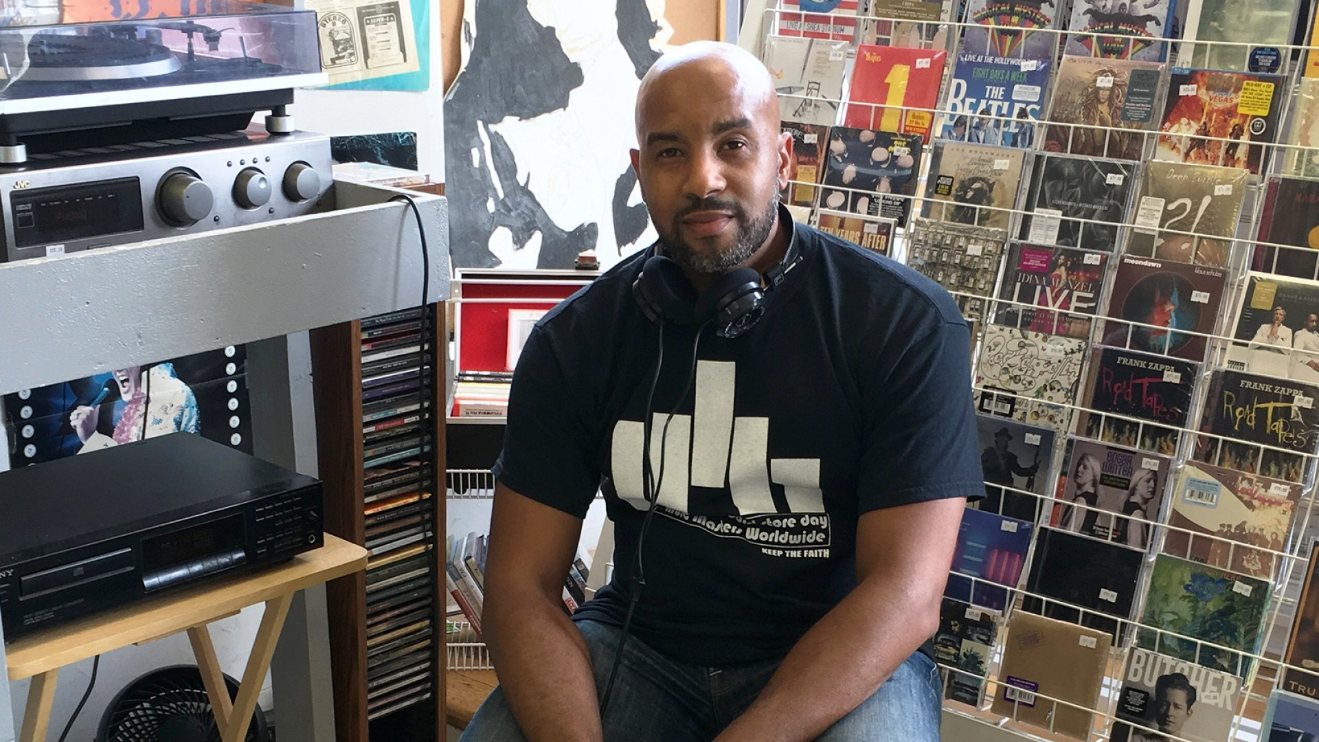 Cordell Miles, founder of independent record store Music Masters Worldwide in Downers Grove, Illinois.