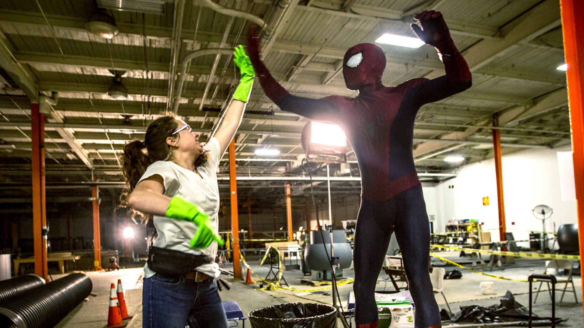 Earth Angel founder Emellie O'Brien on the set of <em>The Amazing Spider-Man 2</em>.