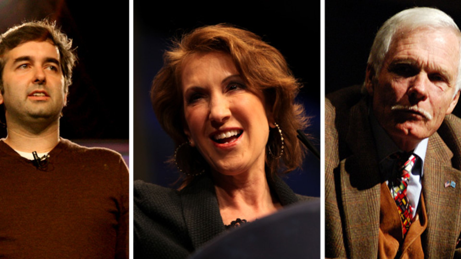 From left to right: Business leaders Chad Dickerson, Carly Fiorina and Ted Turner all have liberal arts degrees.
