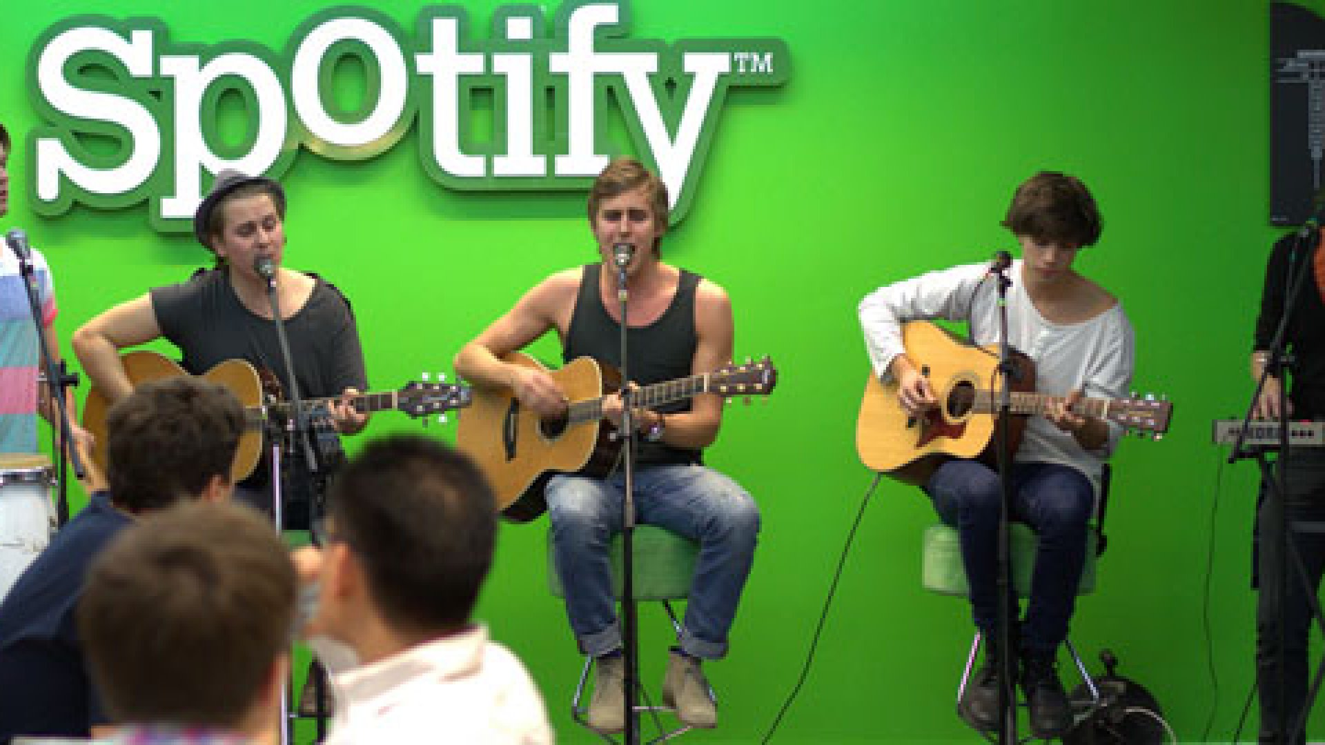 Swedish band Coby Core plays at the Spotify offices.