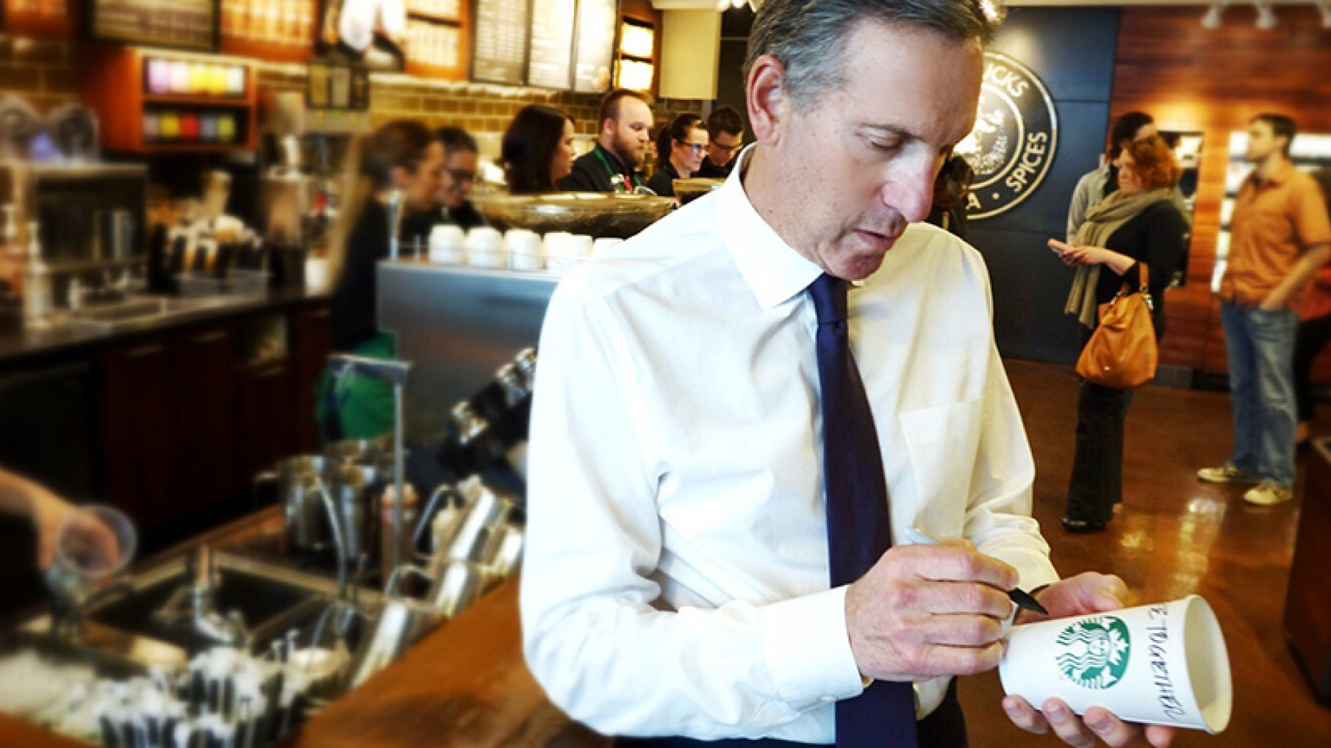 Starbucks CEO Howard Schultz Trips Over Race