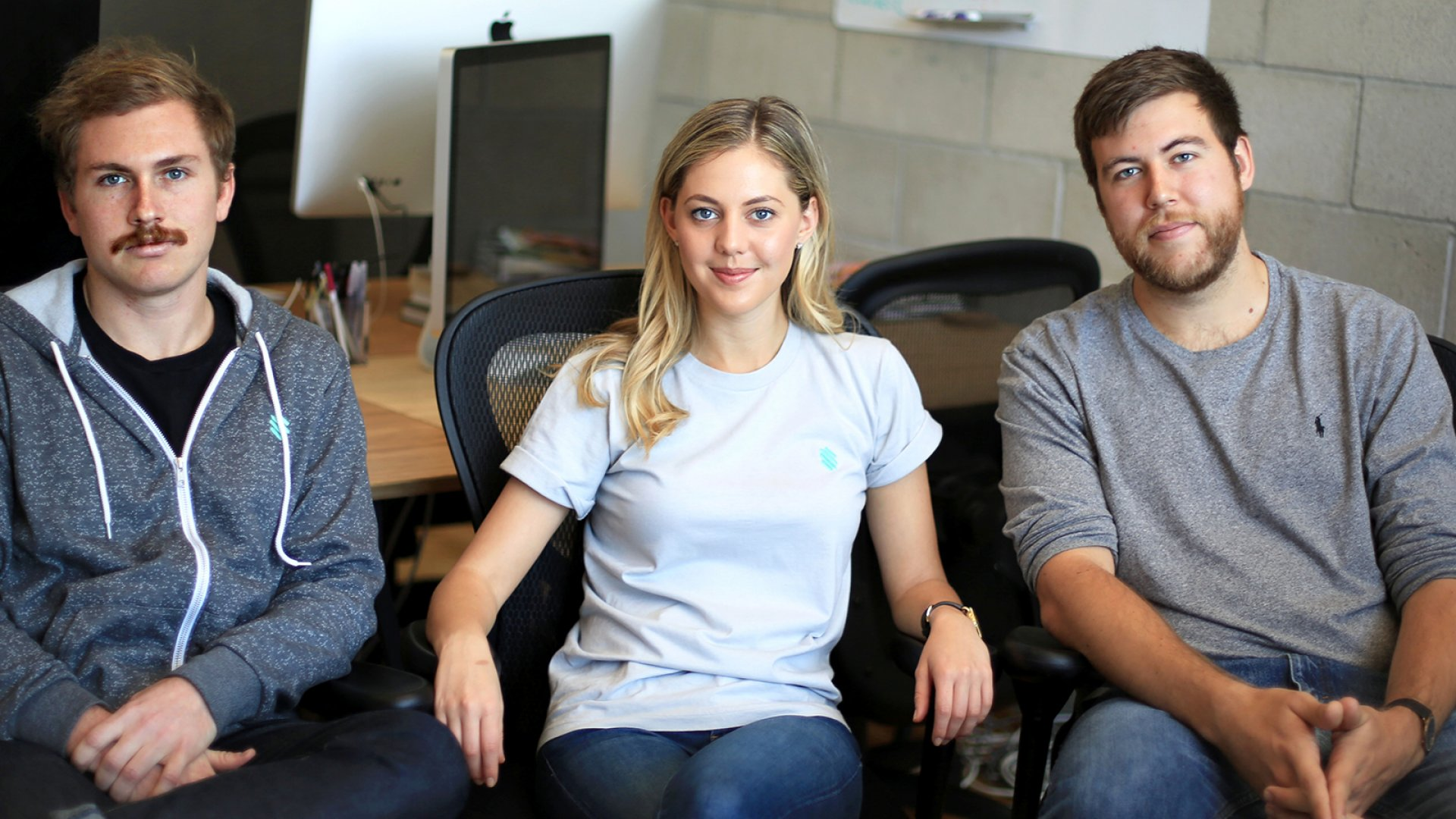 Stem's co-founders: (from left) head of product Jovin Cronin-Wilesmith, CEO Milana Rabkin, and president Tim Luckow.