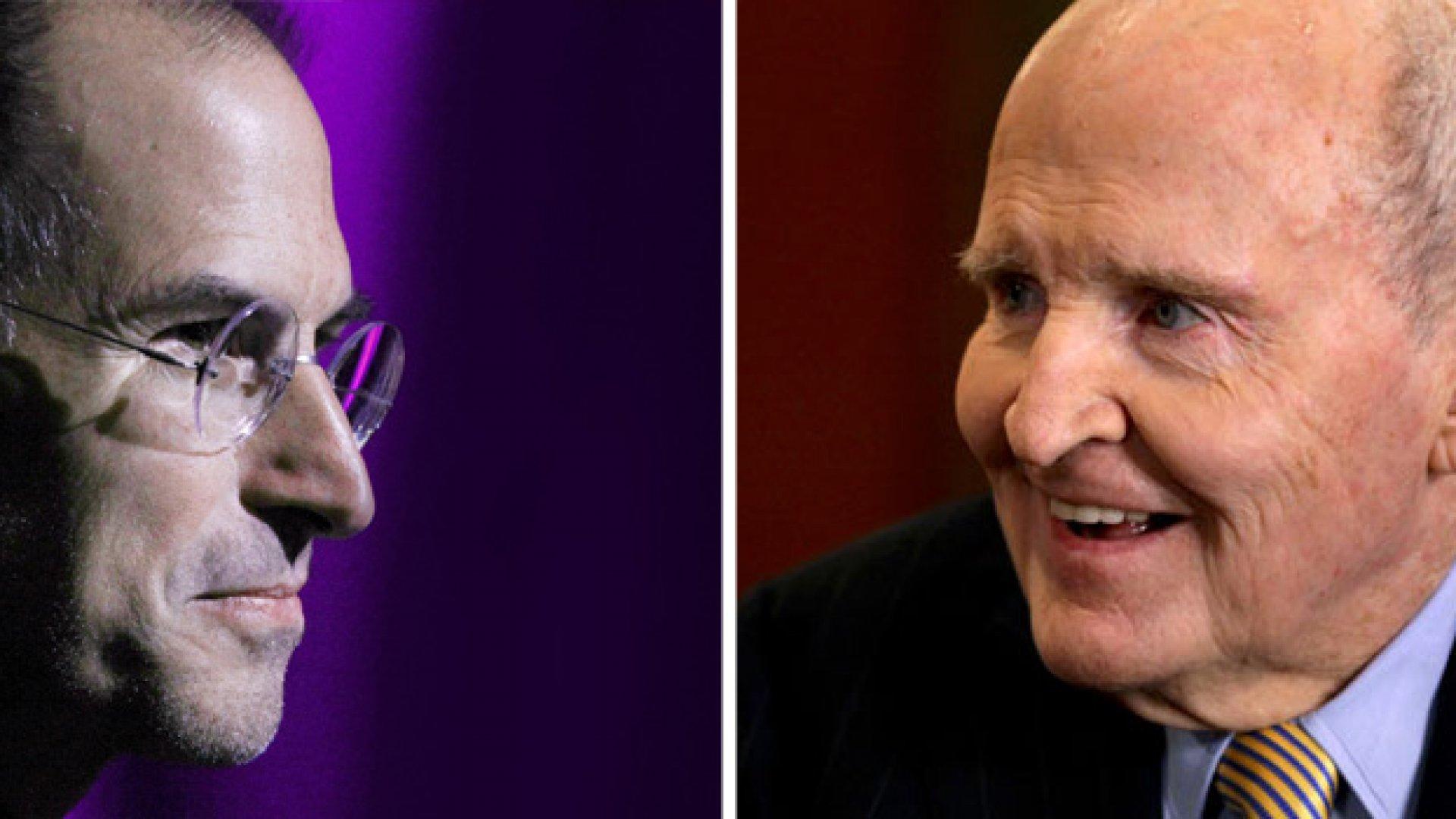 Steve Jobs (left), Jack Welch (right)