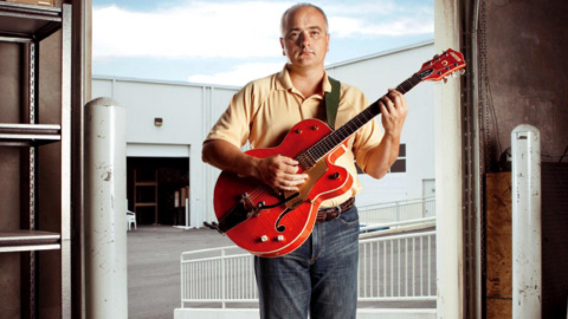 <strong>JAM SESSION</strong> Jim Basara has 175 guitars at his disposal, including this $3,000 Gretsch Brian Setzer.