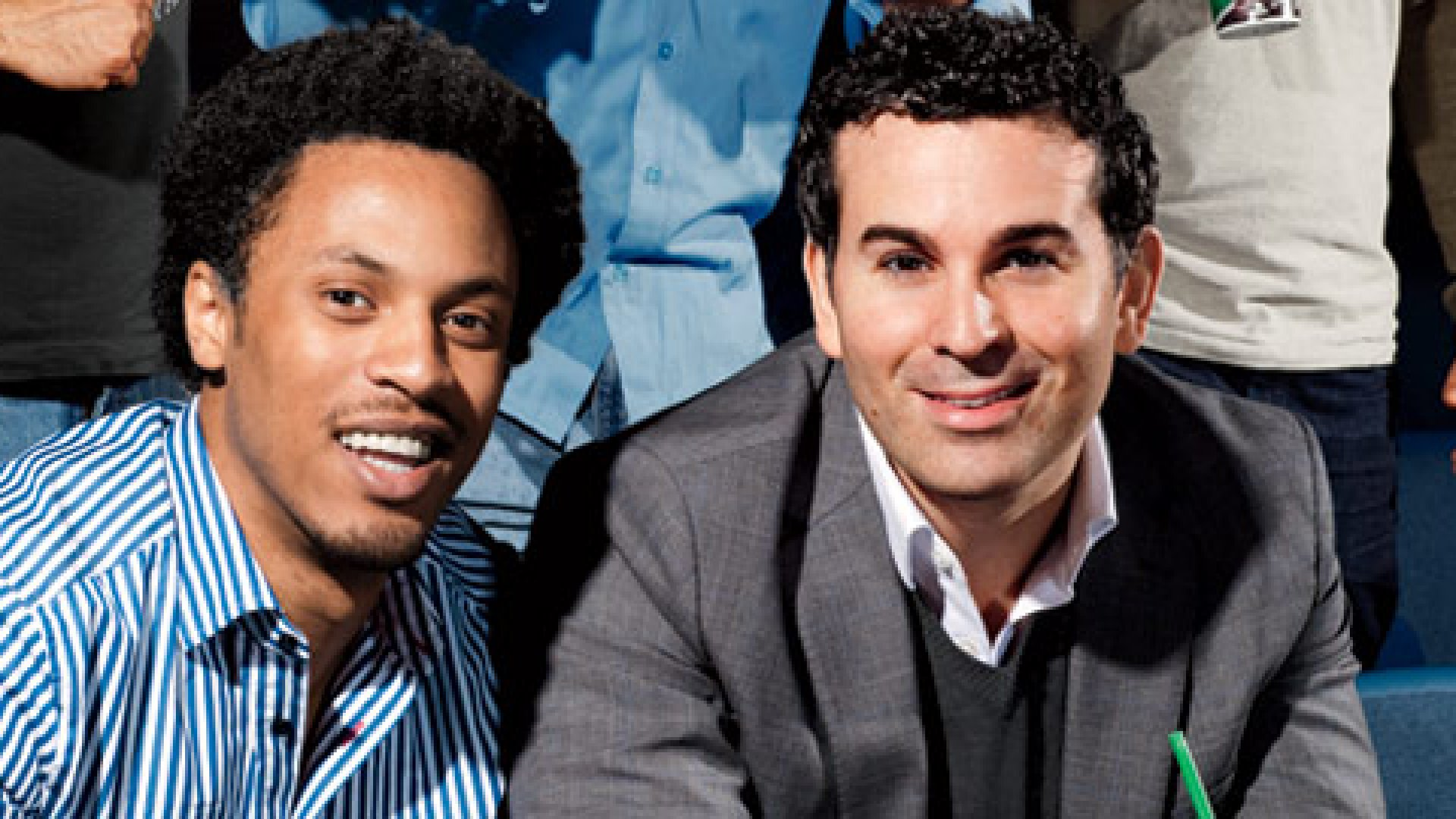 <b>Mobile Munchies </b>FanGo founder Collin Wallace (left) and CEO Jim Marzullo want to branch out.