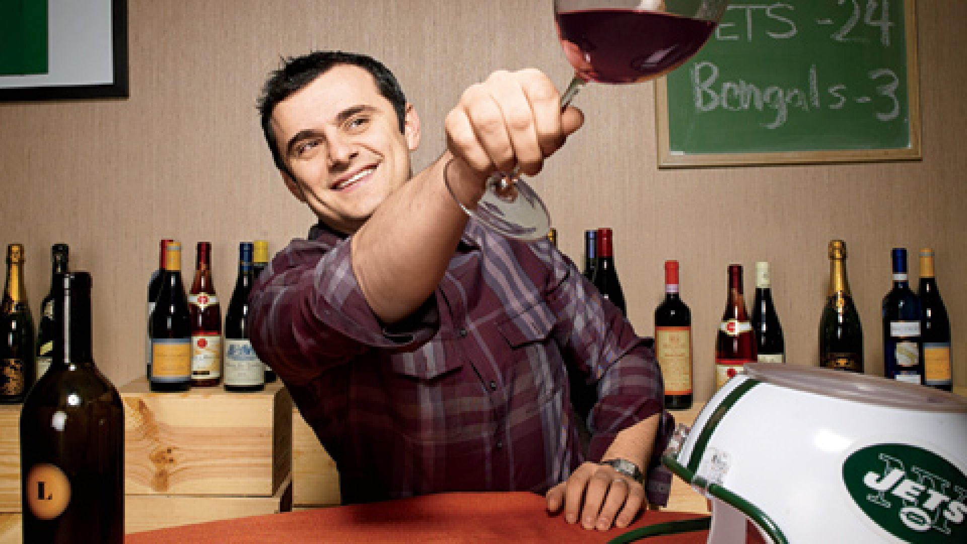 <strong>Internet Celebrity: </strong>Gary Vaynerchuk's video blogs, on which he tastes and reviews wine, get some 90,000 views a day. The New York Jets helmet serves as his spittoon.