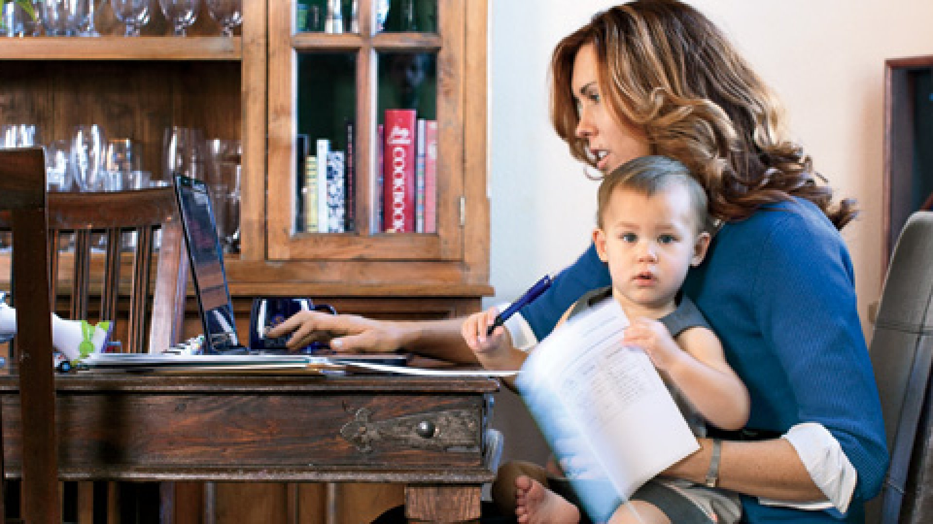 <strong>Mom on a Mission</strong> Jamie Latshaw needs quiet time to work on military contracts. That doesn't mean she gets it.
