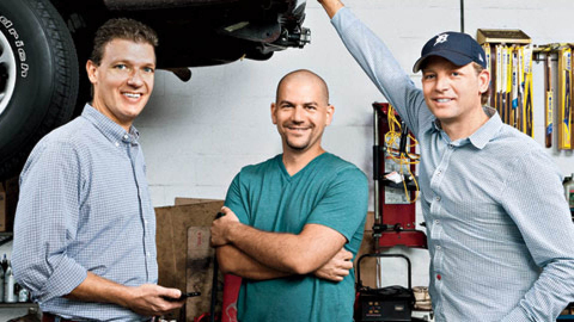 <b>On a Roll</b> Carvoyant co-founders, from left: Bret Tobey, Matt Galvin, and Renz Kuipers at a Tampa Bay-area auto-repair shop