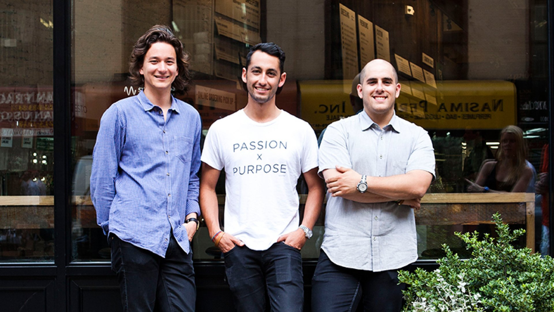 Sweetgreen's co-founders, Nathaniel Ru, Jonathan Neman, and Nicolas Jammet, in front of their location in New York City's NoMad neighborhood.