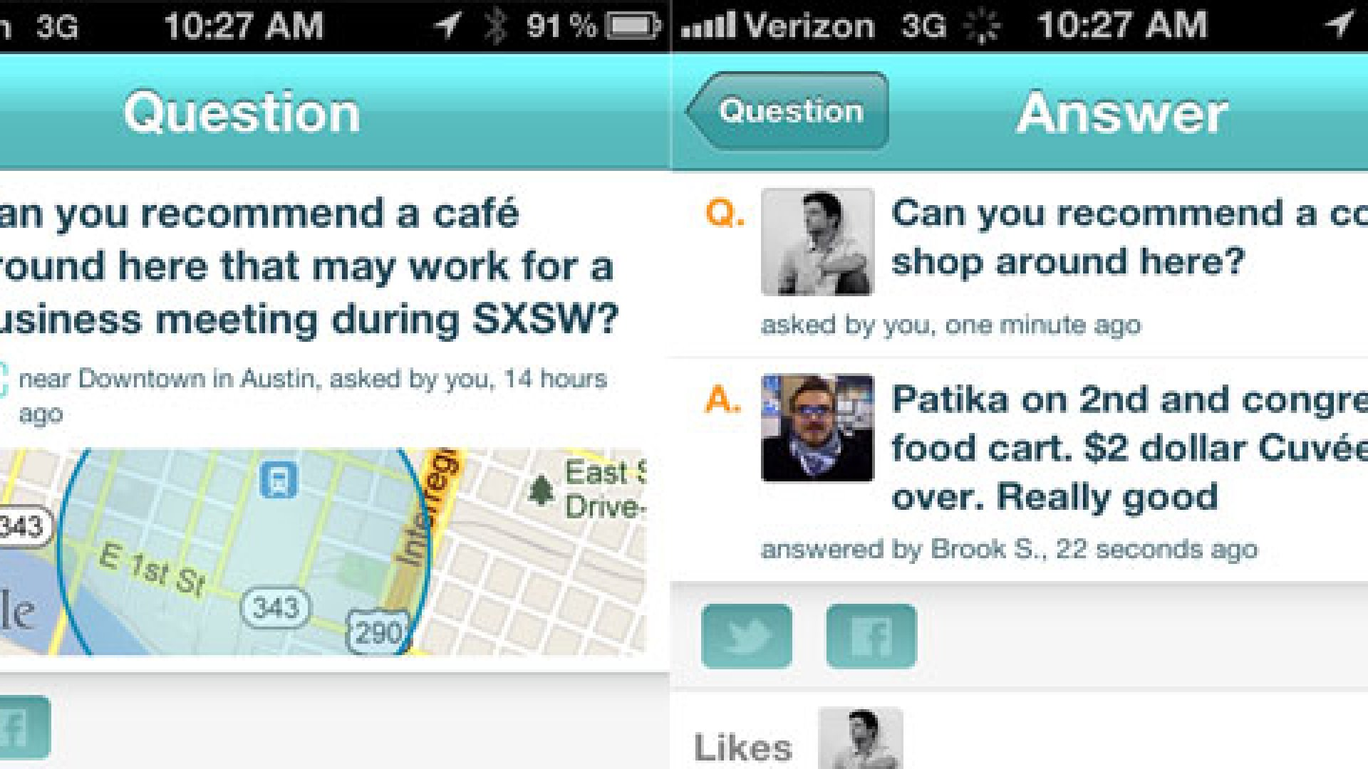 Localmind allows users to ask and answer questions about neighborhood restaurants, stores, and events.