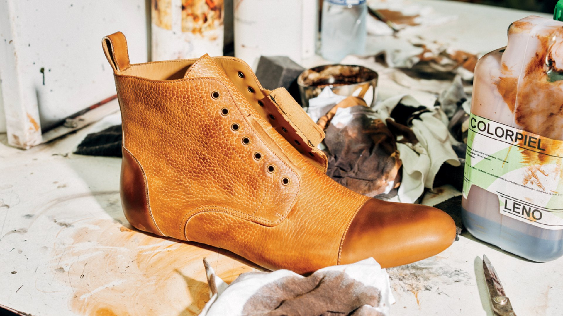 After partial assembly, each Taft boot is hand dyed and painted. The company says it uses only vegetable-tanned, chromium-free, full-grain leathers.