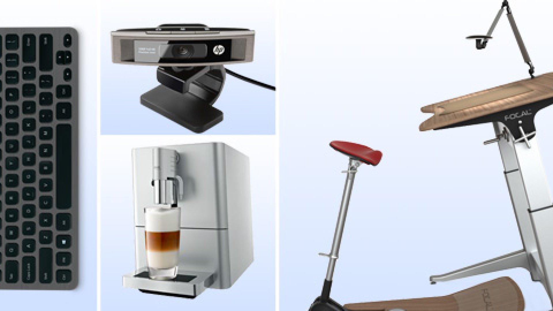 Items clockwise:  Logitech Bluetooth Illuminated Keyboard K81, HP HD-5210, Focal Upright Furniture,  Jura ENA Micro 9 One Touch.