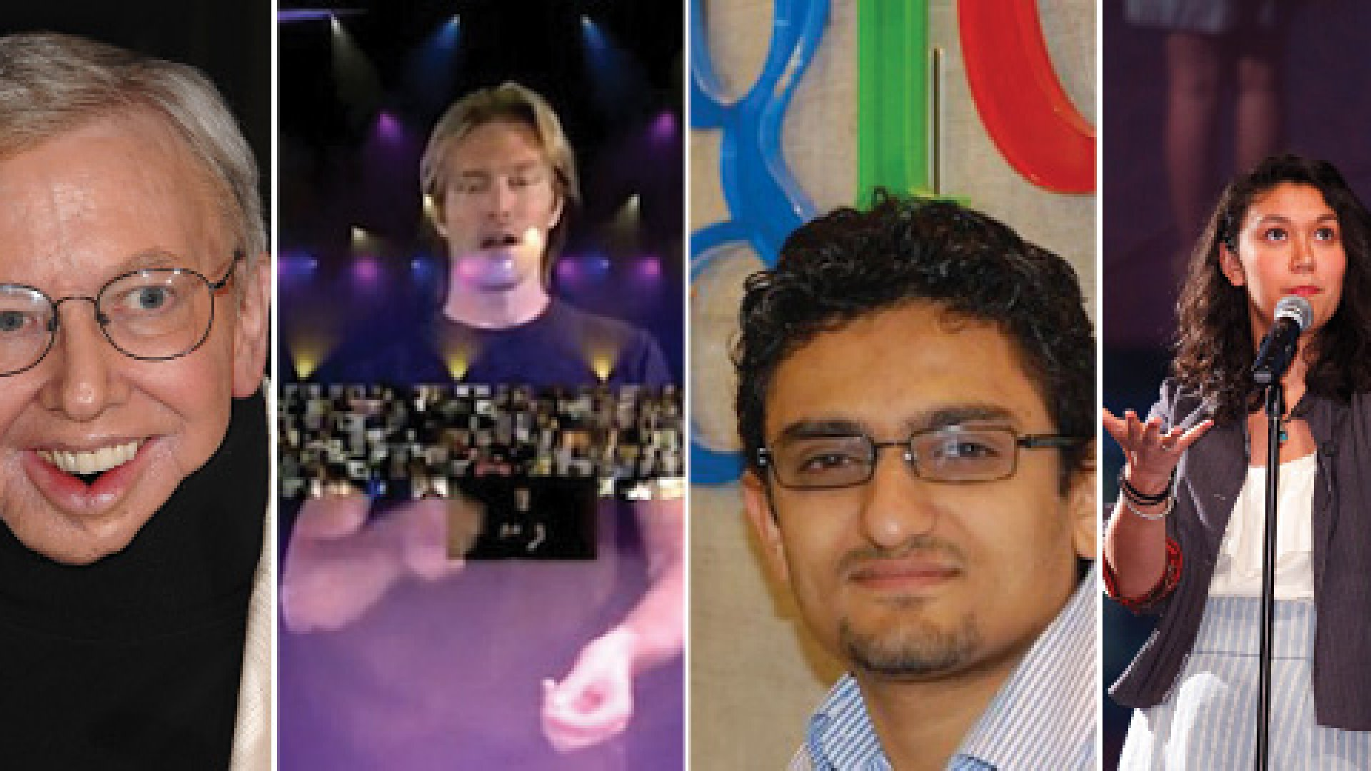 <strong>Smart People:</strong> Roger Ebert (left), conductor Eric Whitacre and his Virtual Choir, Wael Ghonim, the Egyptian-born Googler, and slam poet Sarah Kay all spoke at TED.