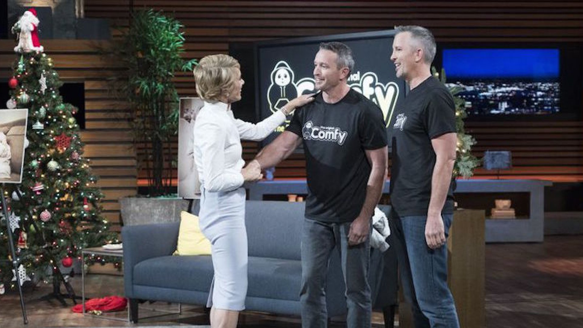 Brian and Michael Speciale shake hands with Barbara Corcoran on <em>Shark Tank</em>.