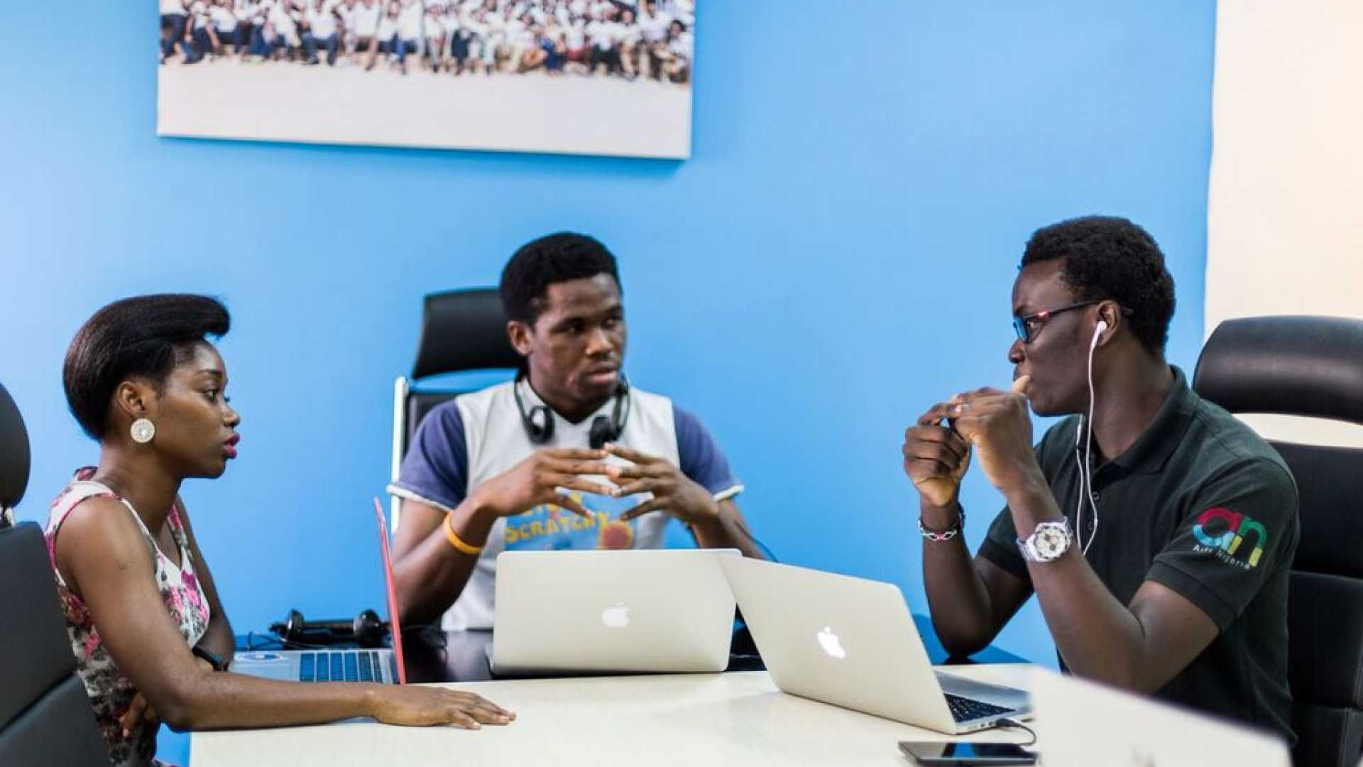 Andela helps African tech talent get jobs with major U.S. companies. Pictured: Tolu Komolafe, Cent Amadi, and Oluwatoni Solarin-Sodara.