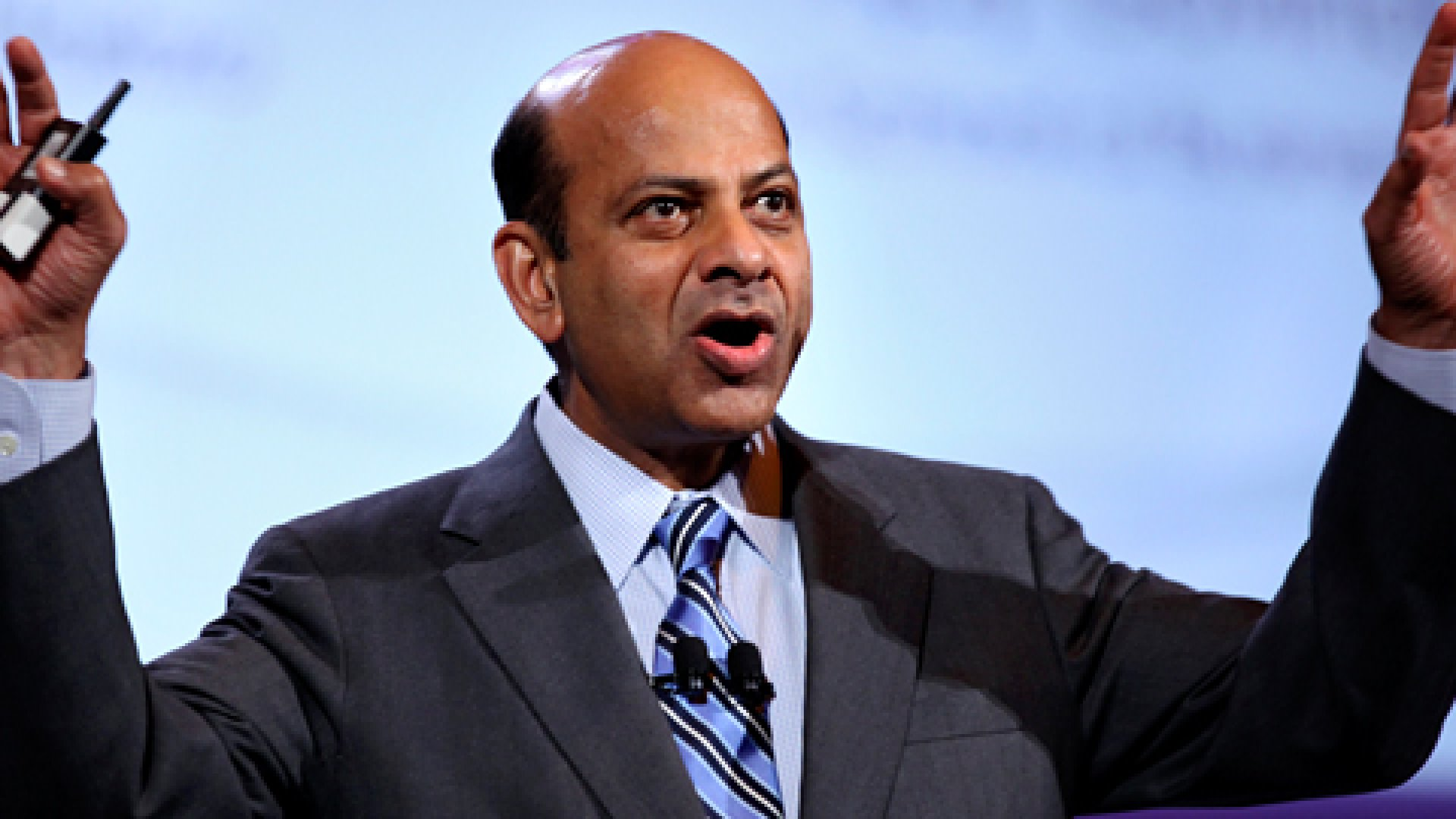 Vijay Govindarajan, professor at Dartmouth College's Tuck School of Business, speaks at the World Business Forum in New York