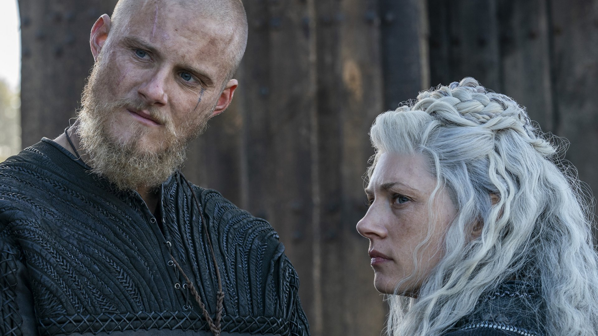 Caption is Bjorn (Alexander Ludwig) and Lagertha (Katheryn Winnick) of HISTORY's ' Vikings'.