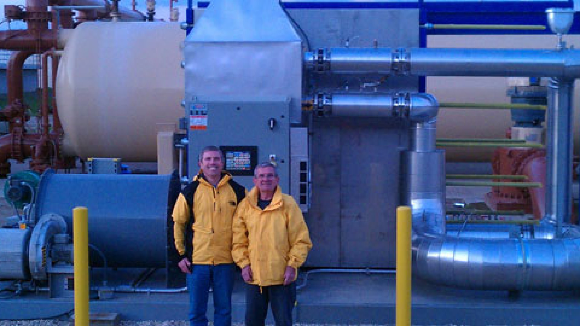 Pasteurization Technology Group was founded by Greg Ryan (right), a farmer and cattle rancher, and his son Greg Ryan Jr., PTG's current CEO. The company's technology (pictured) disinfects water without chemicals, while creating enough renewable energy to power the entire facility in the process.