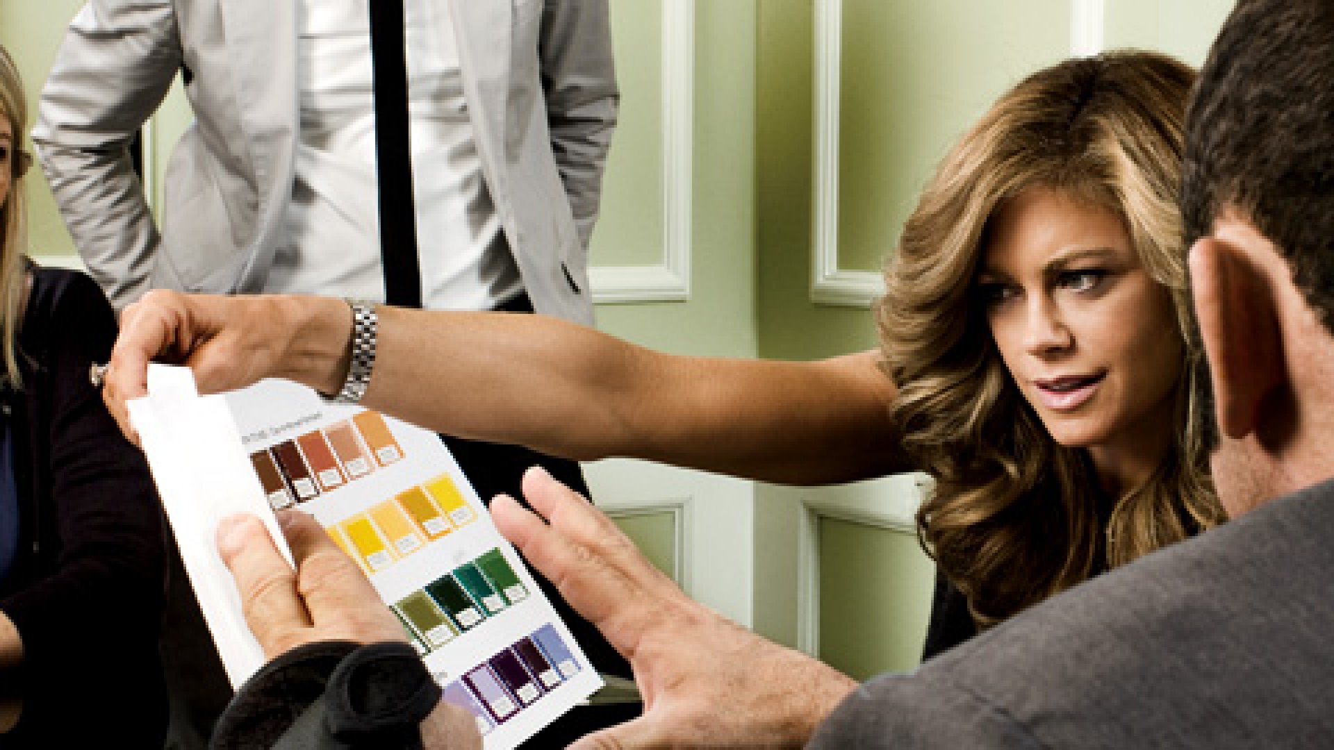 <strong>FORM A LINE</strong> Kathy Ireland, seen here discussing color trends for fall 2010 with her creative team, often schedules back-to-back meetings.