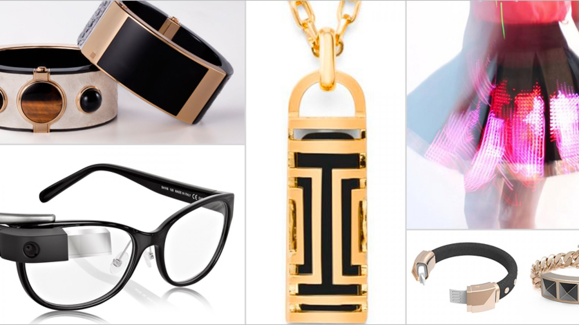 Tech is all dolled up for New York Fashion Week. Intel this week debuted--in partnership with Opening Ceremony--the MICA communications bracelet, at upper left. Designer Tory Burch this year launched a jewelry line to encase wearer's Fitbit devices; a pendant necklace is at center. A smartphone-powered light-up skirt by CuteCircuits is pictured at top right; a pair of Rebecca Minkoff devices-slash-bracelets at bottom right. Google Glass's partnership with Diane von Furstenberg is resulting in more fashion-forward styles, sold at Net a Porter. One is pictured at bottom left.