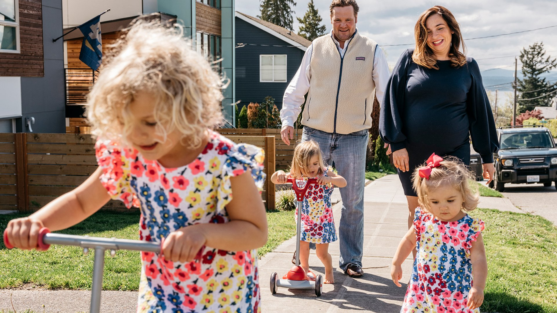 """The fact that I started this company when I was pregnant means that physically, I will be able to do anything,"" the Riveter's Amy Nelson told one skeptical VC. She lives in Seattle with her husband and three (soon to be four) daughters."