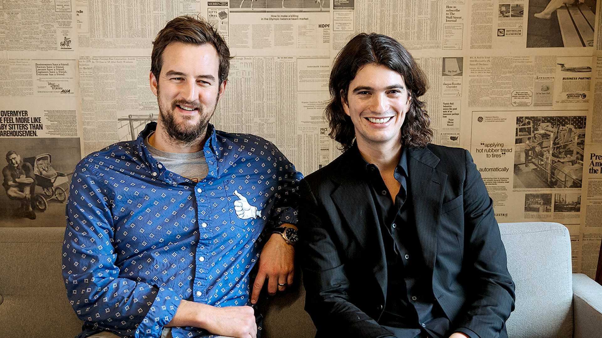 WeWork co-founders Miguel McKelvey (L) and Adam Neumann (R).