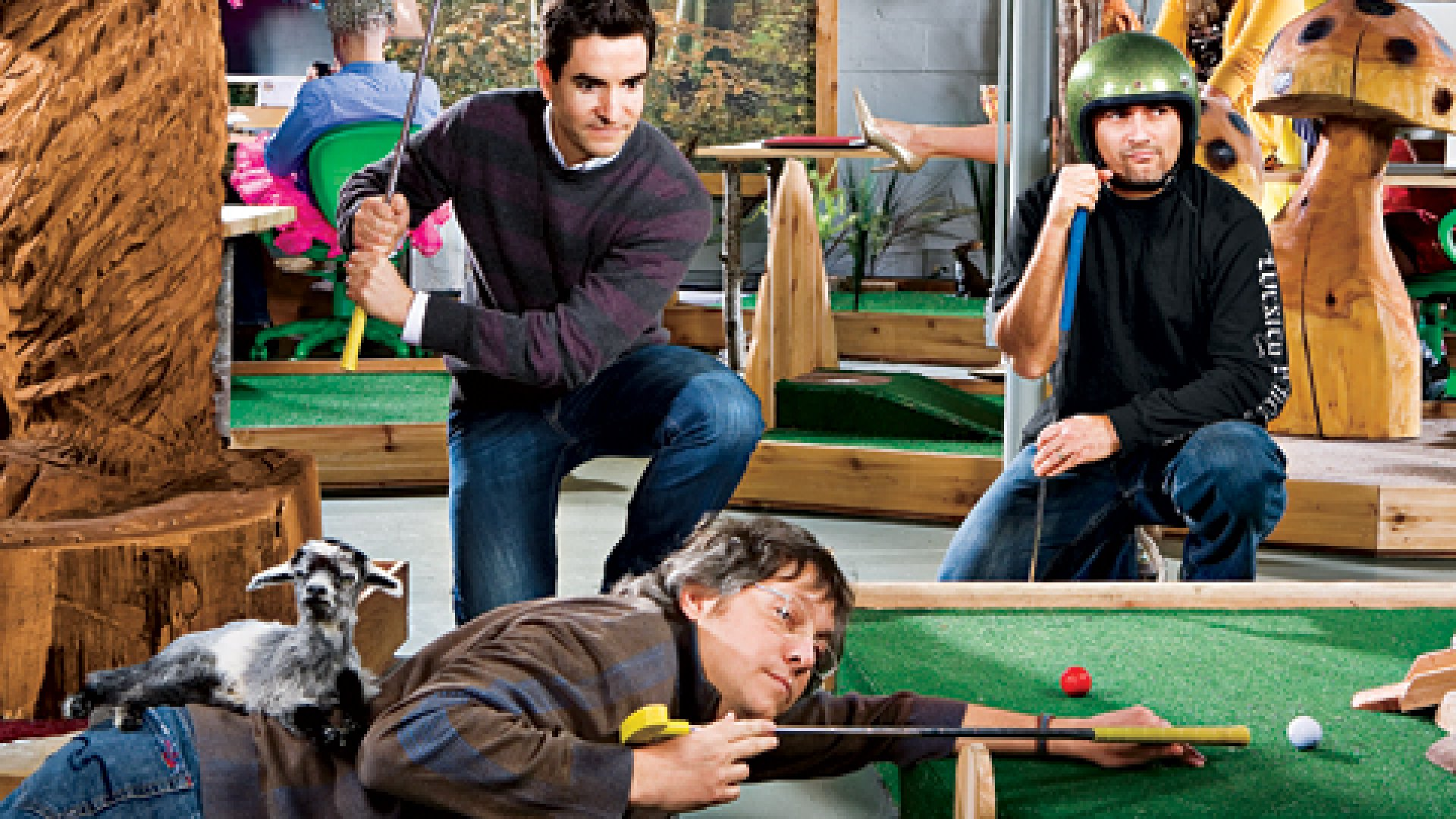 <strong>Playing Through</strong> The Principals of Wexley on the corporate miniature golf course: Carl McAllister (with goat), Brian Marr(with raised putter), and Ian Cohen.