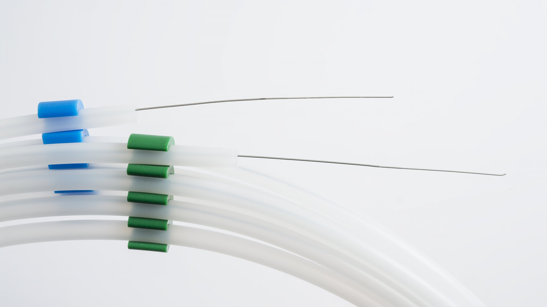 In the photo are Whitlow Wires, cardiac guide wires designed by Dr. Patrick Whitlow of Cleveland Clinic. They are now the flagship product of Tatara Vascular, a company Cleveland Clinic has launched and invested in heavily.