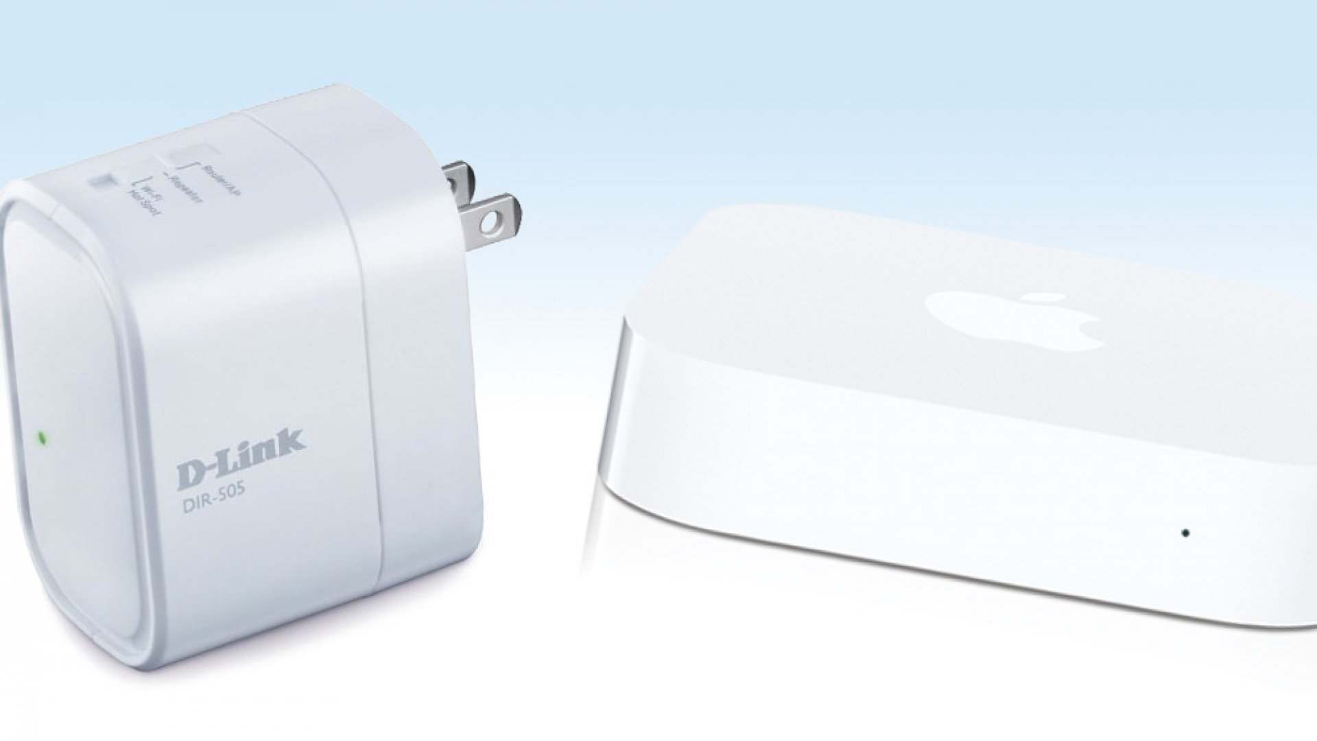 From left to right: D-Link Shareport Mobile Companion DIR-505, Apple Airport Express.