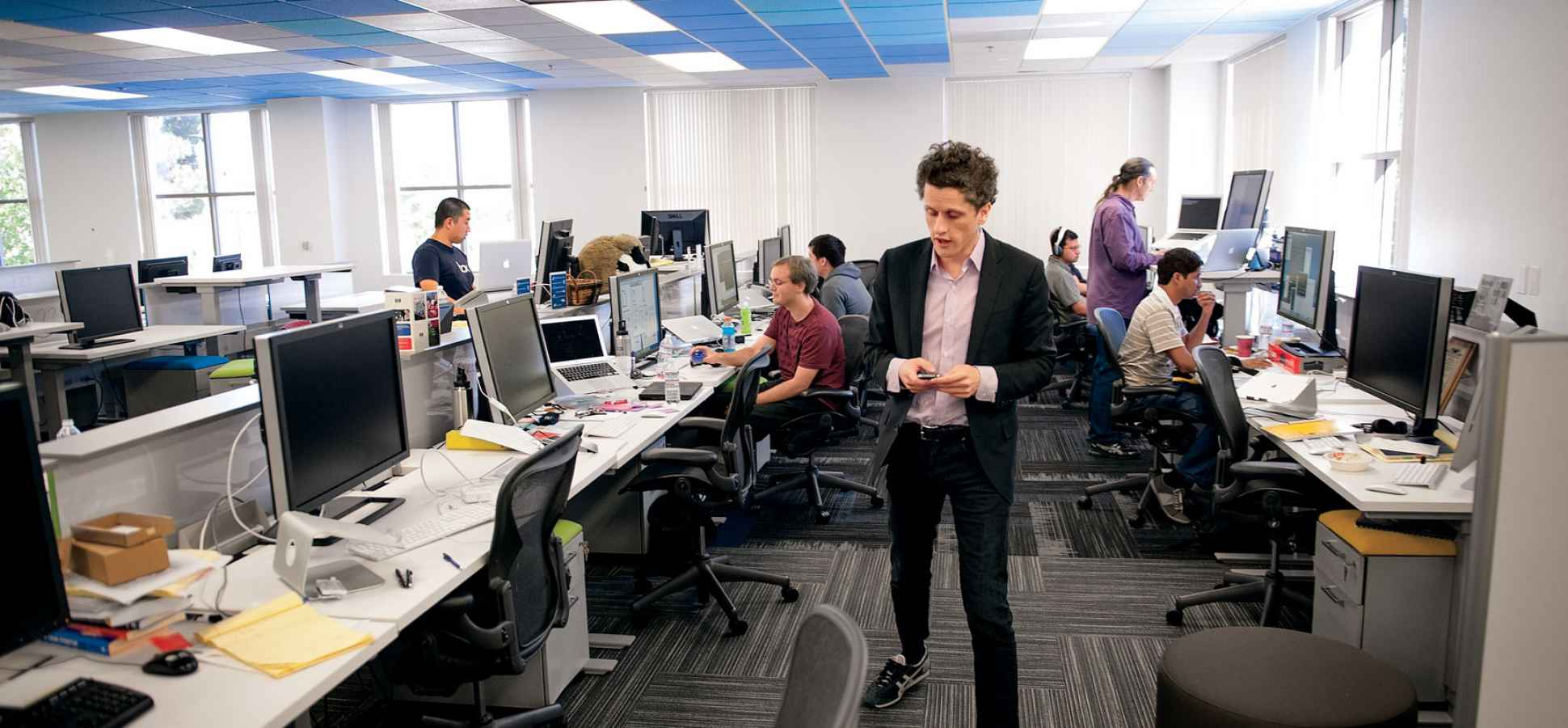 software company office. working together: no one at box has a private office, not even aaron levie, the ceo. software company office o