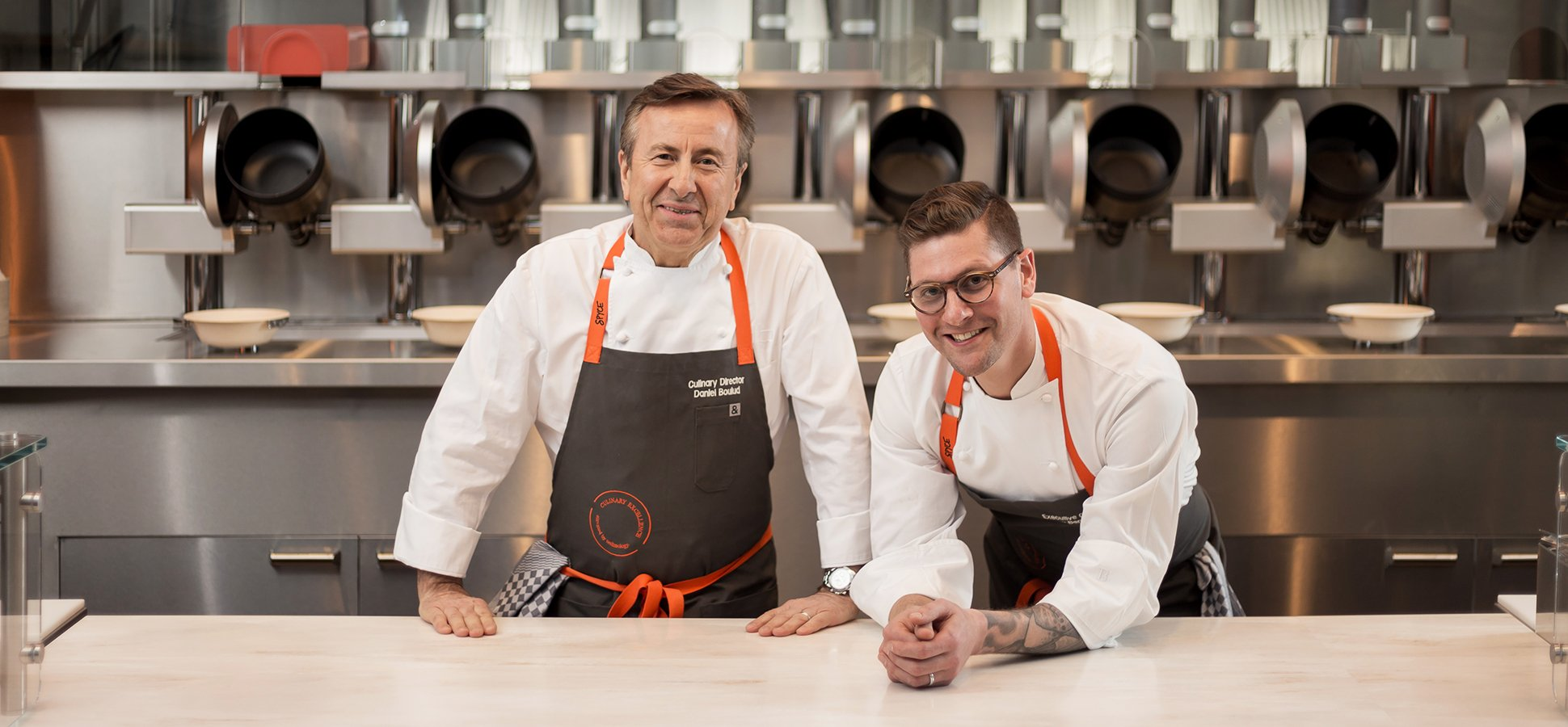 Superior Spyce Chef And Culinary Director Daniel Boulud (left) And Executive Chef  Sam Benson.