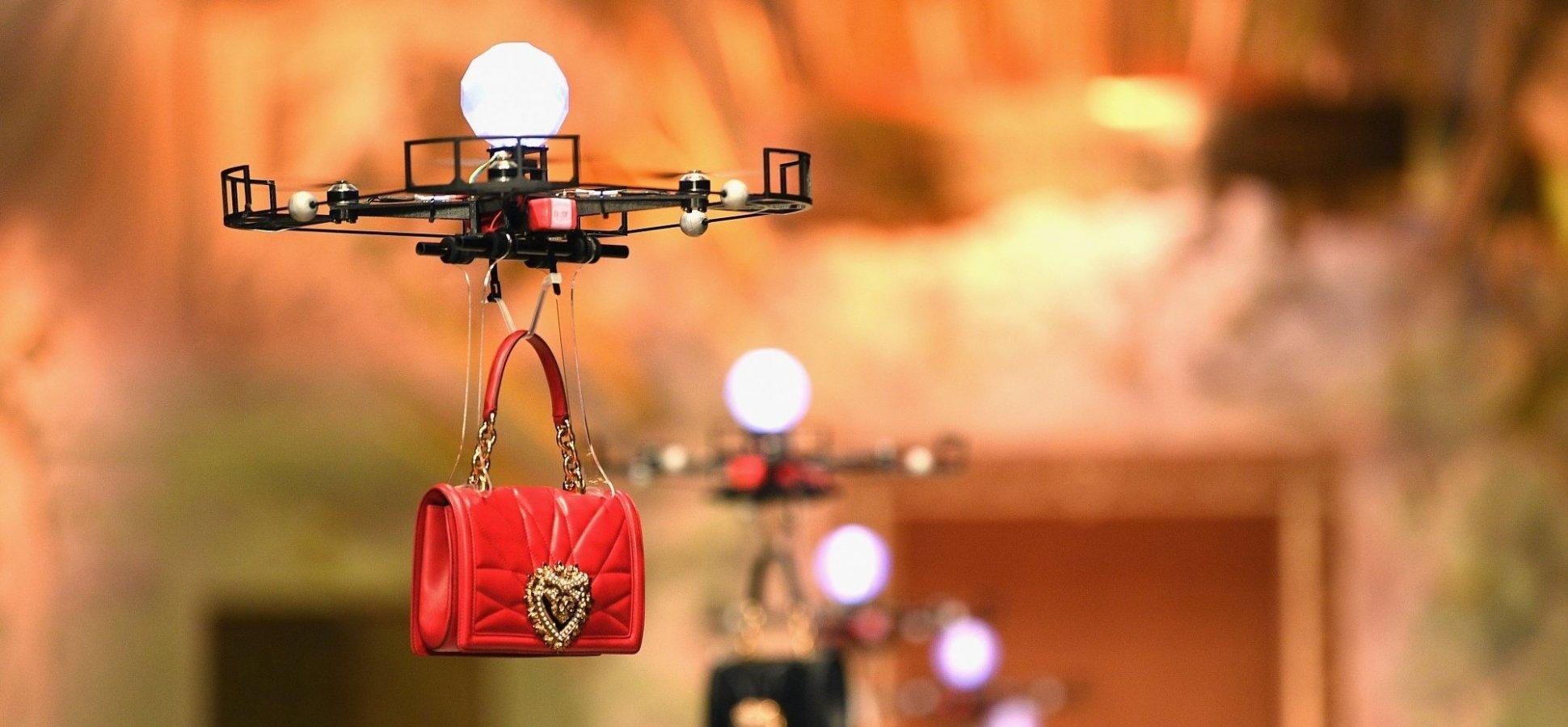 1a4086141a24 Drones Fly Dolce   Gabbana Handbags Down the Catwalk at Milan Fashion Week