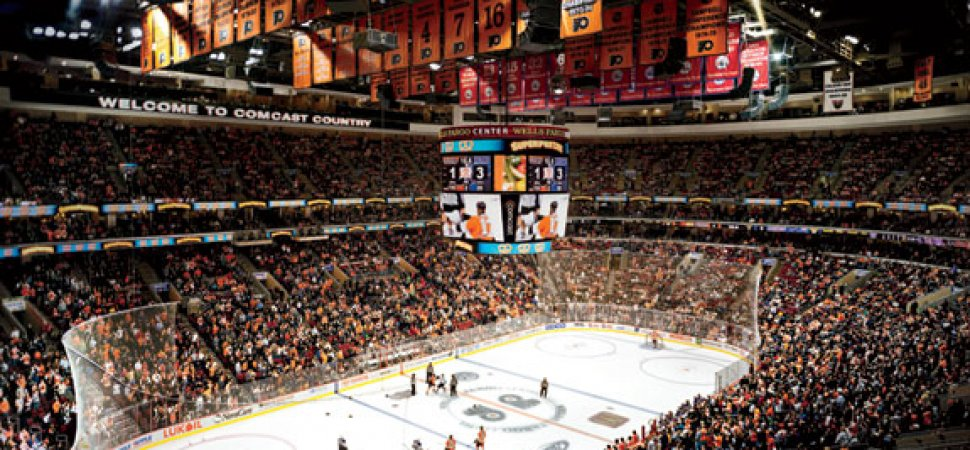 the business of a hockey game at the wells fargo center in