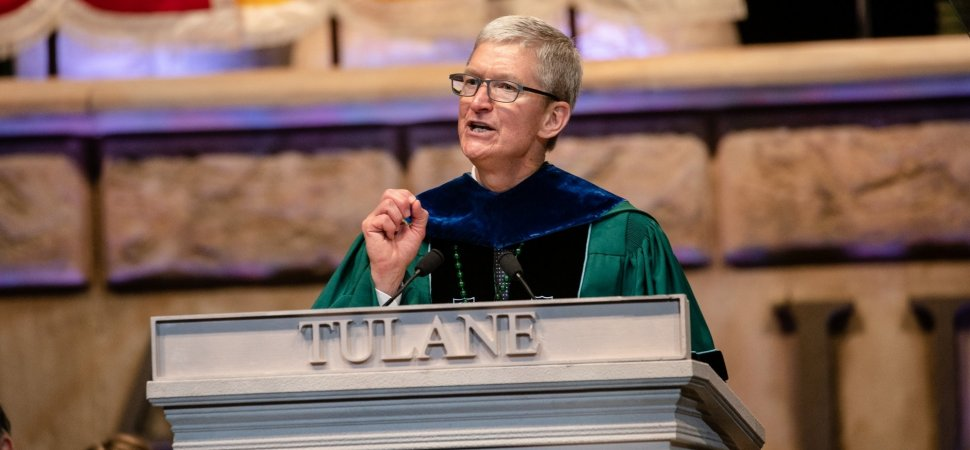 Tim Cook's Fiery Tulane Commencement Speech Show How Much He's Grown as a Public Speaker