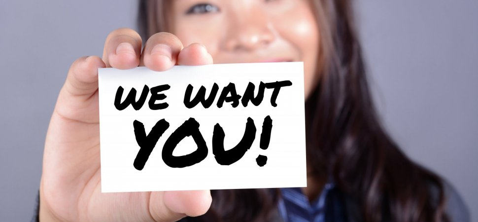 WE WANT YOU! message on the card