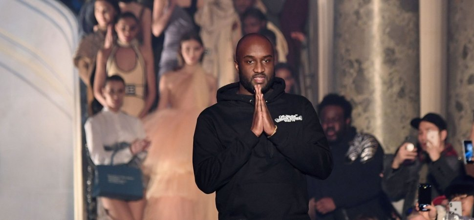 a5eb677028c8 US fashion designer Virgil Abloh for Off-White acknowledges the audience at  the end of the Off-White s 2018 2019 fall winter collection fashion show on  ...