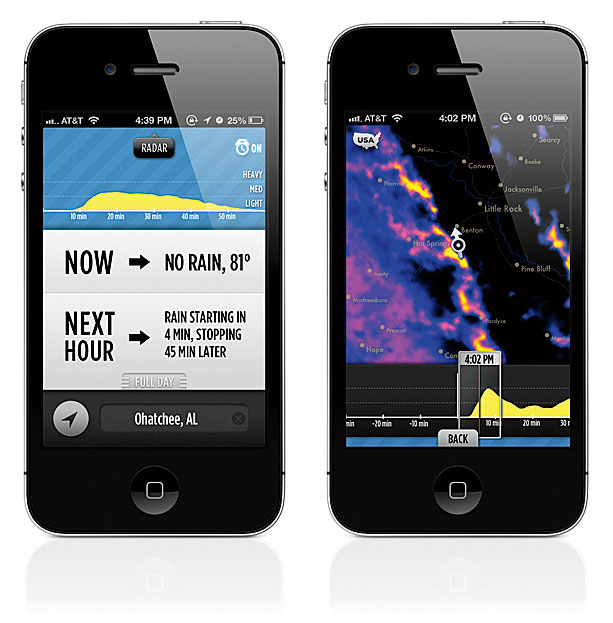 <strong>FLASH FORECAST</strong> Using algorithms rather than traditional meteorotional methods, Dark Sky predicts storm velocity and intensity up to an hour in advance.