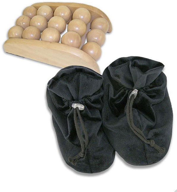 Best Portable Massager: Soothera Wooden Ball Foot Massager U0026 Therapeutic  Slippers