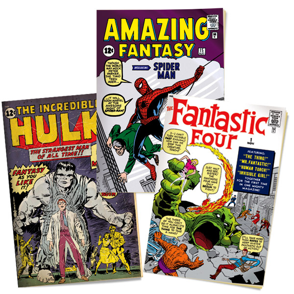 <strong>MEET THE SUPERHEROES</strong> The Fantastic Four made their debut in 1961. The Hulk burst onto the scene in the spring of 1962, followed by Spider-Man, who first showed up on the cover of Marvel's Amazing Fantasy.