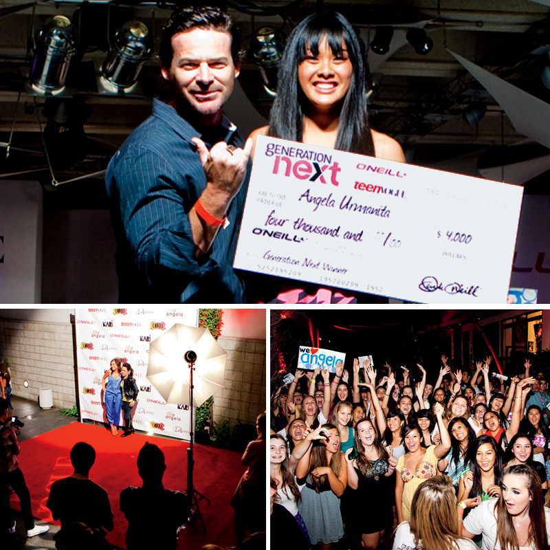 <strong>THE BIG NIGHT</strong> Contestants received red carpet treatment(center) at O'neils fashion show in September. After La Jolla Group CEO Toby Bost presented the winner, Angela Urmanita, with a scholarship (above), her fans in the audience (right) c
