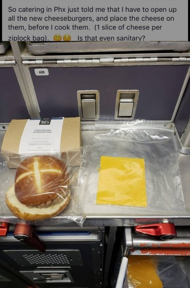 United Flight Attendants Told to Assemble Burgers with Bare Hands