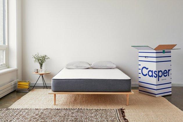 mattress in a box. casper ships its mattress in a box roughly the size of mini fridge. t