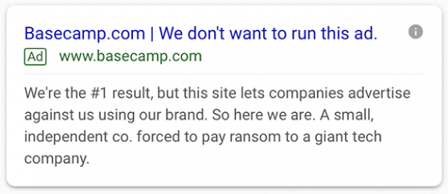 screenshot of Basecamp's ad - copy from the paragraph above
